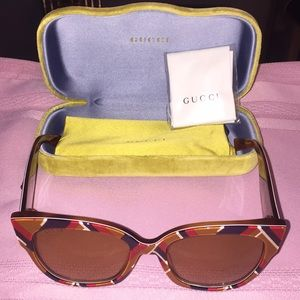 Gucci 0059S 003 Square Sunglasses - MULTI/YELLOW